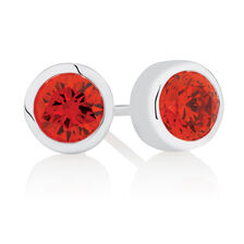 January Stud Earrings with Red Cubic Zirconia in Sterling Silver