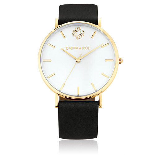Large Watch in Black Suede Leather & Gold Tone Stainless Steel