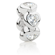 Hearts Spacer with Cubic Zirconia in Sterling Silver