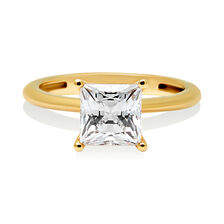 Princess Cut Solitaire Ring with Cubic Zirconia in 10ct Yellow Gold