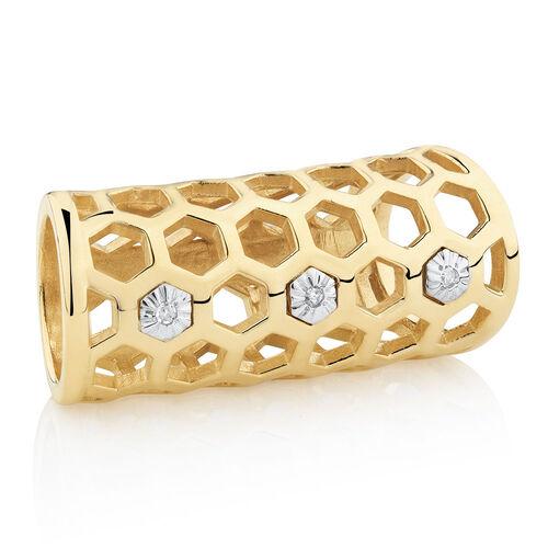 Diamond Set Honeycomb Wild Hearts Sleeve in 10ct Yellow Gold