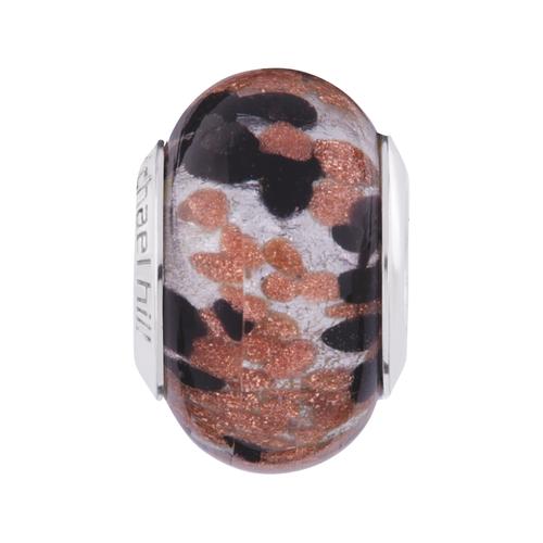 Black & Copper Murano Glass Charm