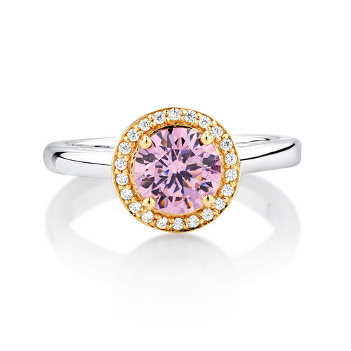 Pink & White Cubic Zirconia, Sterling Silver & 10ct Yellow Gold Stacker Ring
