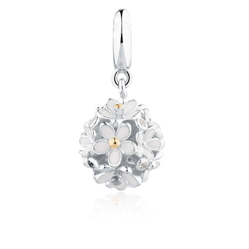 Daisy Dangle Charm with Cubic Zirconia & White Enamel in Sterling Silver & 10ct Yellow Gold