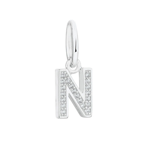 """N"" Initial Mini Pendant with Cubic Zirconia in Sterling Silver"