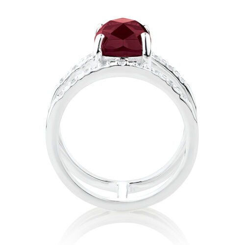 Double Row Ring with Burgundy Crystal & Cubic Zirconia in Sterling Silver