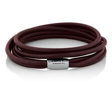"38cm (15"") Double Wrap Multi-Strand Bracelet in Maroon Leather & Stainless Steel"