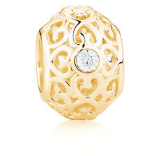 Diamond Set 10ct Yellow Gold Filigree Charm