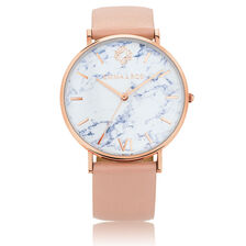 Large Watch in Blush Leather & Rose Tone Stainless Steel