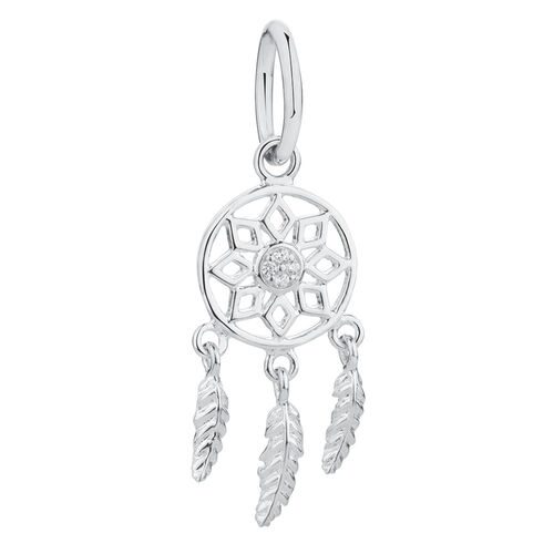 Dream Catcher Mini Pendant with Cubic Zirconia in Sterling Silver