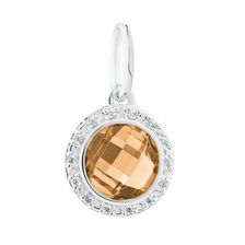Dangle Charm with Apricot Crystal & Cubic Zirconia in Sterling Silver