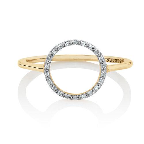 Diamond Set Circle Ring in 10ct Yellow Gold