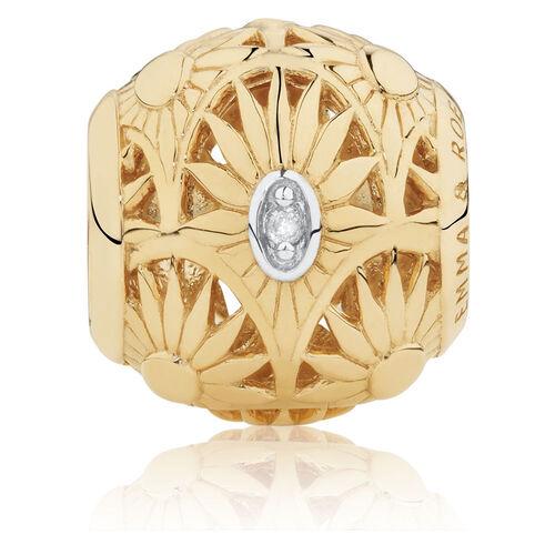 Diamond Set Flower Pattern Art Deco Charm in 10ct Yellow Gold