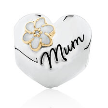 "Diamond Set ""Mum"" Heart Charm with Enamel in 10ct Yellow Gold & Sterling Silver"