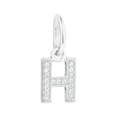 """""""H"""" Initial Mini Pendant with Cubic Zirconia in Sterling Silver"""