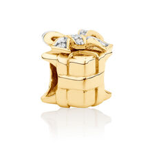 Diamond Set Present Charm in 10ct Yellow Gold