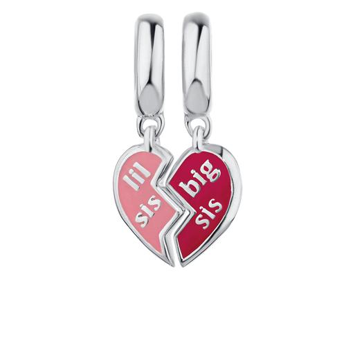 Sterling Silver & Pink Enamel Sisters Two Charm Set