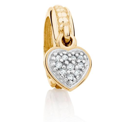 Diamond Set & 10ct Yellow Gold Heart Charm