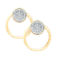 Diamond Set Stud Earrings & Earring Enhancer Set in 10ct Yellow Gold