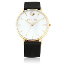 Large Watch in Black Leather & Gold Tone Stainless Steel