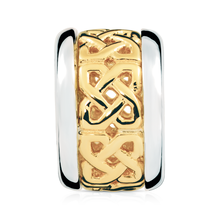 10ct Yellow Gold & Sterling Silver Celtic Pattern Charm