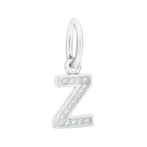 """""""Z"""" Mini Pendant with Cubic Zirconia in Sterling Silver"""
