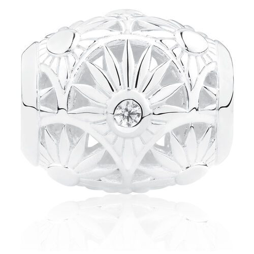 Flower Pattern Art Deco Charm with Cubic Zirconia in Sterling Silver