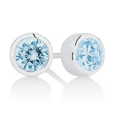 March Stud Earrings with Aqua Cubic Zirconia in Sterling Silver
