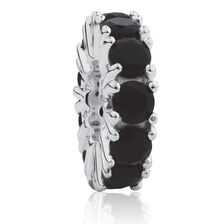 September Spacer with Black Cubic Zirconia in Sterling Silver