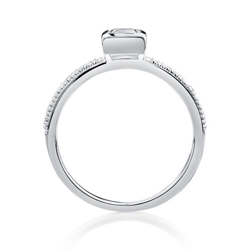 Square Stacker Ring with White Cubic Zirconia in Sterling Silver