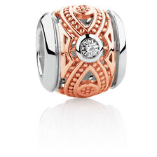 Diamond Set Patterned Charm in 10ct Rose Gold & Sterling Silver