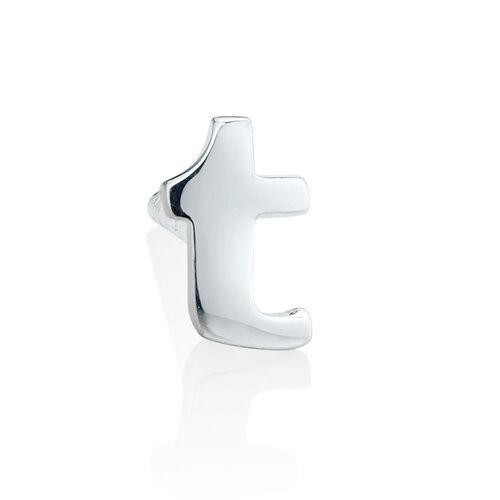 """T"" Initial Stud Earring in Sterling Silver"