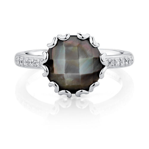 Stacker Ring with Grey Mother of Pearl & Cubic Zirconia in Sterling Silver