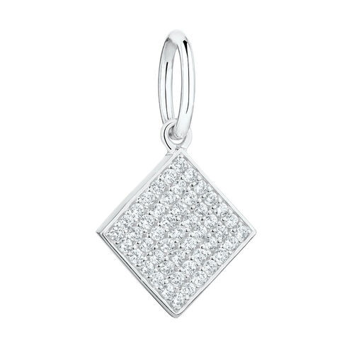 Geometric Square Mini Pendant with Cubic Zirconia in Sterling Silver