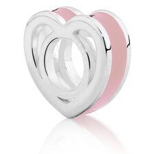 Sterling Silver & Pale Pink Enamel Heart Charm