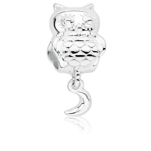 Sterling Silver Owl & Moon Dangle Charm