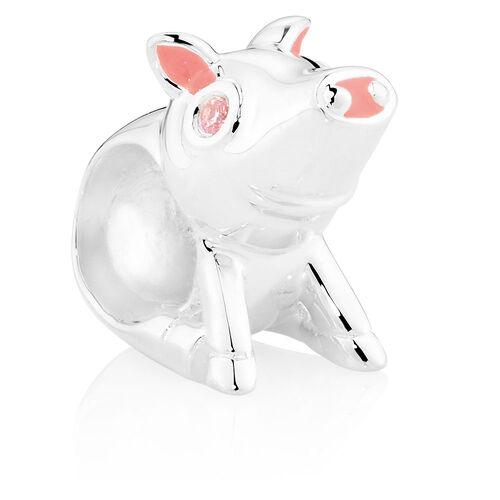 Pink Cubic Zirconia, Pink Enamel & Sterling Silver Pig Charm