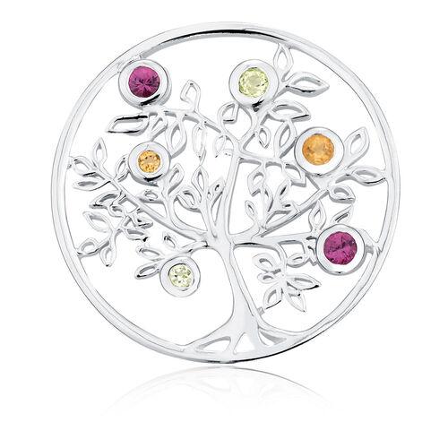 Citrine, Peridot, Rhodolite & Sterling Silver Tree Coin Locket Insert