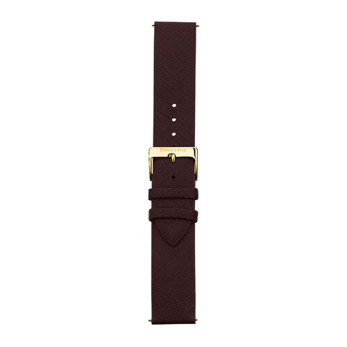 Large Watch Strap in Burgundy Leather & Gold Tone Stainless Steel