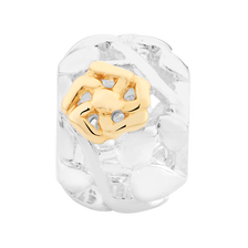 10ct Yellow Gold & Sterling Silver Filigree Flower Charm