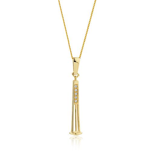 Diamond Set 10ct Yellow Gold Charm Pendulum Pendant