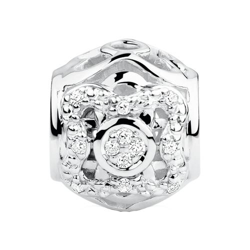 Diamond Set Sterling Silver Flower Pattern Charm