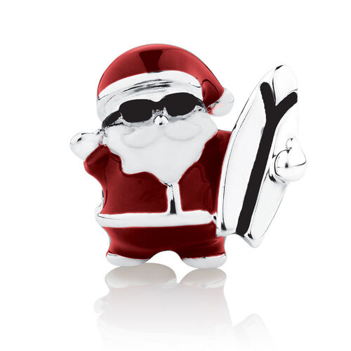 Surfing Santa Charm with Red & White Enamel in Sterling Silver