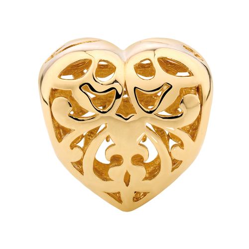 10ct Yellow Gold Filigree Heart Charm