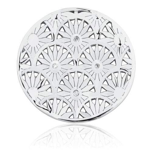 Art Deco Coin Locket Insert with Cubic Zirconia in Sterling Silver
