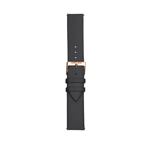 Large Watch Strap in Black Leather & Rose Tone Stainless Steel