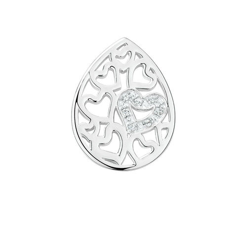 Heart Pattern Mini Coin Locket Insert with Cubic Zirconia in Sterling Silver