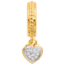Diamond Set & 10ct Yellow Gold Heart Charm