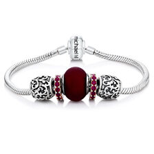 Red Glass & Sterling Silver Charm Bracelet