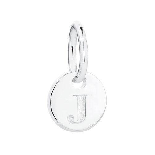 """J"" Initial Mini Pendant in Sterling Silver"